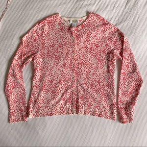 Talbots Petites white and pink crewneck cardigan
